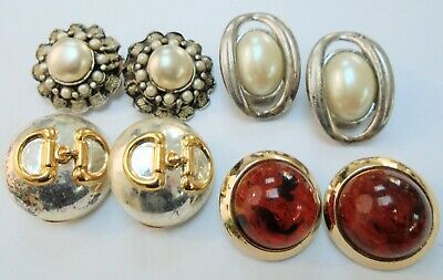 Four pairs good quality large vintage earrings (silver metal, pearl, faux amber)