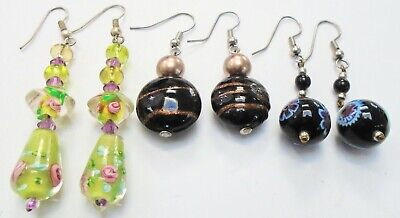 Three pairs gorgeous vintage art glass earrings