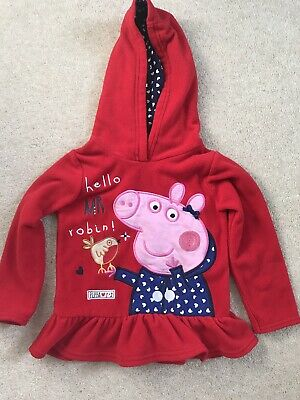 Girls Lovely Red Fleece Hoody Peppa Pig Jumper Top Size 3-4 Years - EX CON