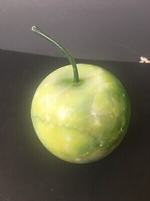 Vintage Italy Alabaster Marble Stone Fruit Realistic Small Green Apple