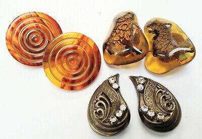 Three pairs gorgeous large vintage earrings (gold metal, faux tortoiseshell etc)