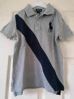 Ralph Lauren Polo Shirt Silver Grey with Navy boys age 7 years