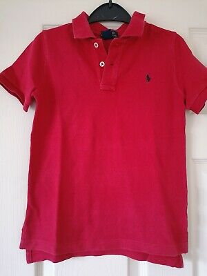 BOYS GENUINE RALPH LAUREN RED POLO SHIRT TOP AGE 6 YEARS Short Sleeve Kids