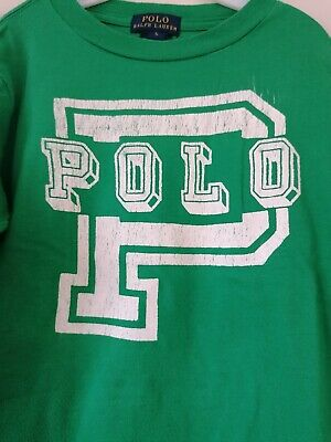 Ralph Lauren Polo Boys Green cotton long sleeved top with white Polo Logo. age 5
