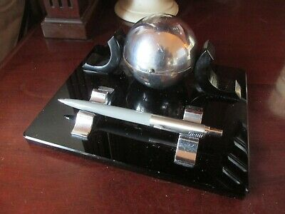 Art Deco Chrome Ball & Black Base Inkwell