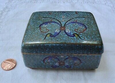Beautiful old Chinese cloisonne box with detailed designs. Slight damage.
