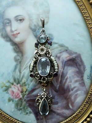 Antique Victorian Amethyst & Seed Pearl Drop Pendant