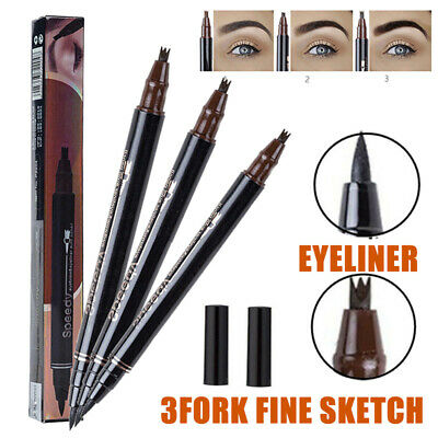 2 in1 Waterproof Liquid Eyeliner 3 Fork Tip Eyebrow Pen Pencil Eye Makeup Tool