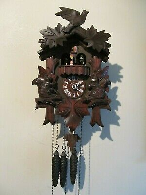 Vintage German Musical and Dancers Black Forest Cuckoo Clock