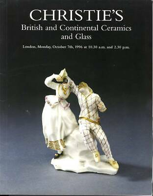Christie's Sale catalogue of British and Continental Ceramics and Glass Oct 1996