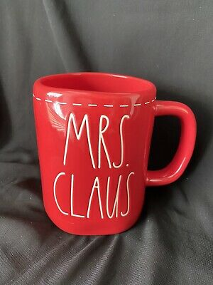 Rae Dunn Mrs Claus LL  Red Holiday Christmas Mug  With Stitching