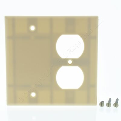 New Leviton Ivory 2-Gang Receptacle Outlet Plastic Cover Blank Wall Plate 86008