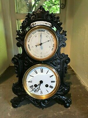 Thermometer/Barometer/Clock Combination In Cast Iron Case.