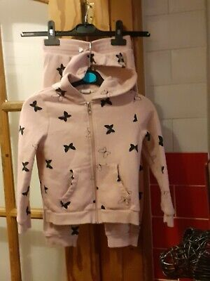 Pretty Girls H&M Pink Hooded Tracksuit With Black Butterfly Details Age 4 - 5 yr