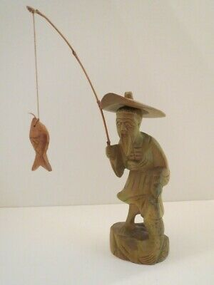Vintage Carved Wood Chinese Asian Fisherman Statue Carving Figurine OUTSTANDING