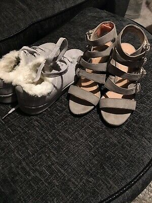 Girls Grey Shoe Bundle Size 2 New Look Sandals & Fluffy Suede Type Trainers