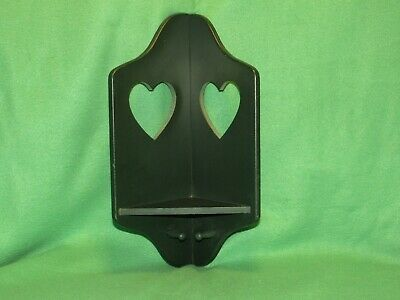 Wood, Corner, Curio Wall Shelf- Knick Knacks With 2 pegs-Green W/ Heart Design.