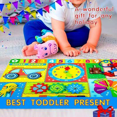 Wooden Activity Board With Clocks, Spinning Gears, Perfect For Toddlers Game