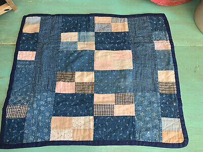 Primitive Doll Quilt Vintage Antique Calico/Early Brown 1880's-Finished