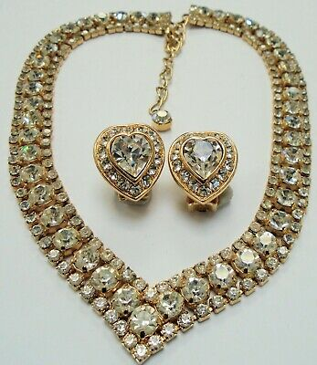 Gorgeous vintage gold metal & diamond paste collar necklace + earrings