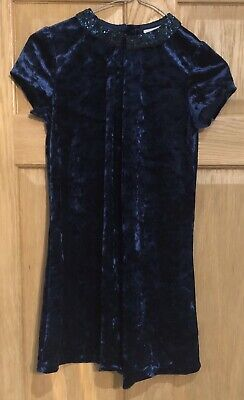 Girls Next Winter Crushed Velvet Party Dress In Blue Age 10 Years