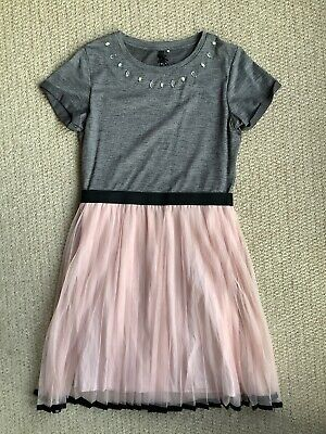 Next Girls Pink And Grey Party Dress With Chiffon Skirt Age 12