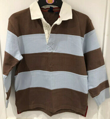 MINI BODEN Boys Blue & Brown Rugby Shirt Age 7-8 Years 100% Cotton