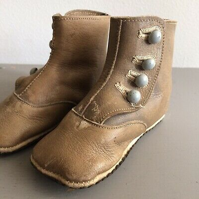 Child's Tan Leather Victorian Baby Button Up Shoes Boots Vintage Antique