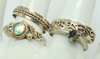 Four fine quality vintage sterling silver rings (abalone, sapphire paste, band)