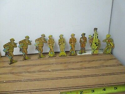 Vintage Marx Tin Toy Army Soldiers of Fortune Playset 1940s Lot of 9