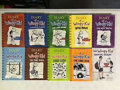 Lot of 10 Diary of a Wimpy Kid Books #1-9 and Movie Jeff Kinney Series Hardcover