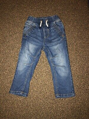 Baby Boys NEXT 12-18 Months Blue Jeans Comfy Comfort Joggers Pull On Soft Tie Up