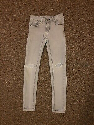 Boys NEXT grey Skinny Distressed Jeans. Size 7-8 Years