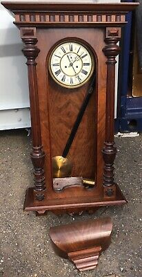 antique victorian Walnut Vienna Double Twin Weight Wall Clock