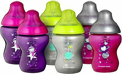 Tommee Tippee Closer to Nature Decorated Baby Bottles Pink 260 ml 6-Piece Milk