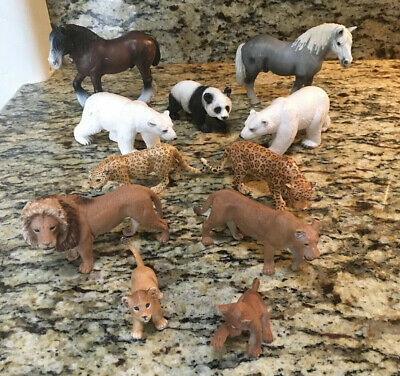 Lot 11 Schleich Animals Horse, Polar Bear, Lion , Panda,  More
