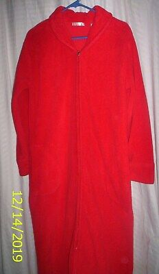 Secret Treasures Solid Red Warm & Comfy Zip Front Lounging Gown Robe, 38-40 Bust