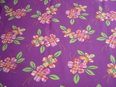 """Lot of 3 Fabric Tablecloths Banquet Table Sz 96"""" x 45"""" Floral Purple Green Pink"""