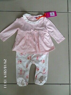 New With Tags Ted Baker Baby Girls Pink Bunny Print Mock Romper 6-9 Months