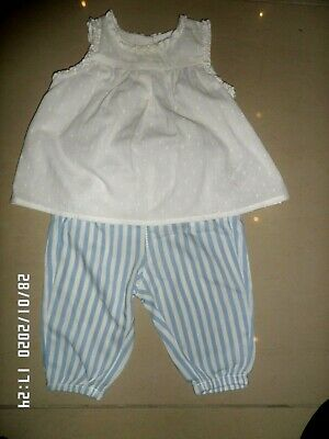 Next Baby Girls White Top & Blue Stripe Trousers Set 3-6 Months Excellent Cond