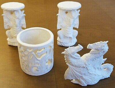 4 Unpainted Dragon Ceramics - Dragon Candle Holder, Dragon Figure, 2 Dragon