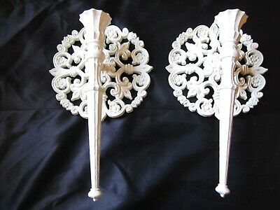 Wall Candle Scones Vintage Ornate White  Homco Hollywood Regency Mid Century
