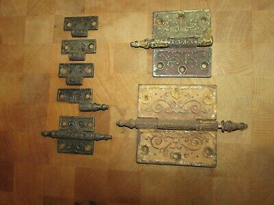 Vintage Victorian Eastlake Ornate Steeple Tip Cast Door Hinges parts and pieces