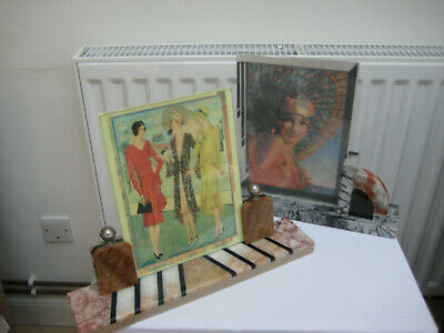 TWO ORIGINAL FRENCH ART DECO 1930,s MARBLE PICTURE FRAMES  GOOD CONDITION