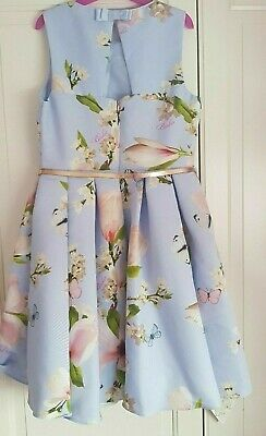 Girls Ted Baker Party Prom Occasion Flower Blue Dress Age 6-7