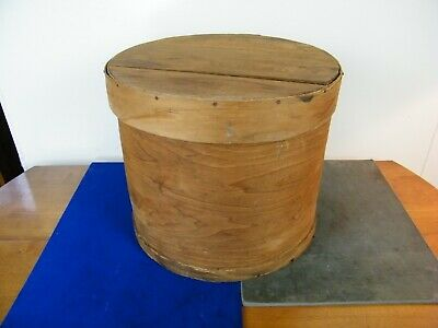 "Large 16"" Antique VTG Bentwood Primitive Shaker Pantry Wooden Round Cheese Box"