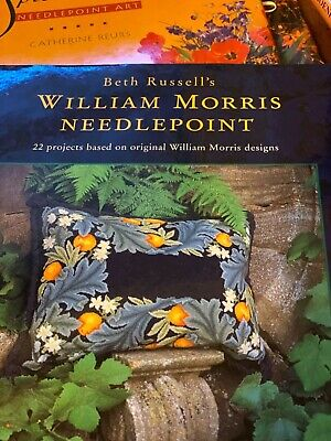 William Morris Needlepoint Book & 3 other books using flowers in needlepoint des