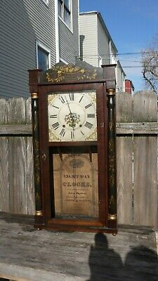 8 day weight driven Jerome & Darrow early wooden works shelf clock restoration p