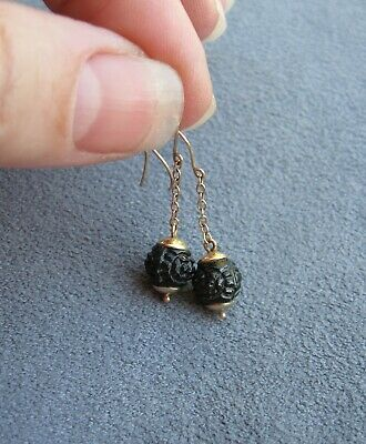 ANTIQUE VICTORIAN 9K YELLOW GOLD CZECH GLASS BLACK JET EARRINGS Carved Mourning