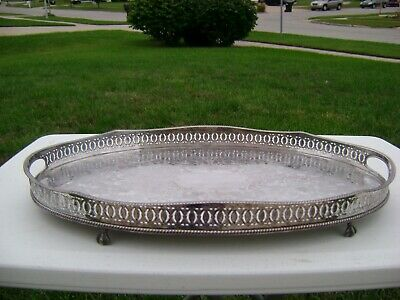 "20"" Vtg Sheffield Silver Plate Oval Ornate Handled Footed Gallery Serving Tray"